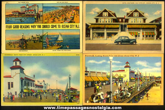 (4) Colorful Old Ocean City New Jersey Boardwalk & Beach Post Cards