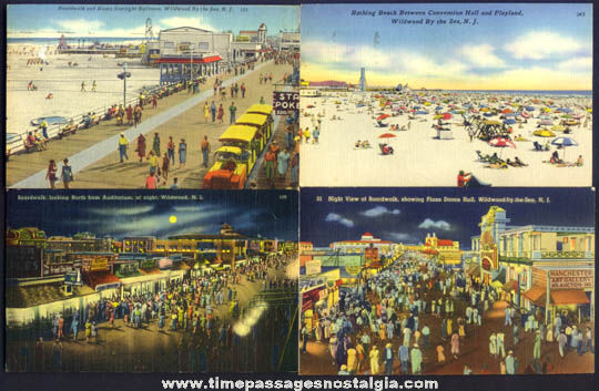 (4) Colorful Old Wildwood By The Sea New Jersey Post Cards