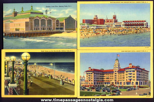 (4) Colorful Old Asbury Park New Jersey Beach & Boardwalk Post Cards