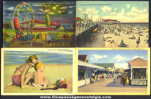 (4) Colorful Old Seaside Heights New Jersey Amusement Park, Boardwalk, & Beach Post Cards