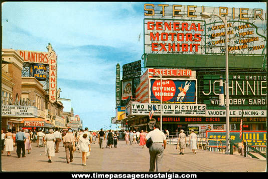 1957 Atlantic City New Jersey Steel Pier Post Card With Advertising
