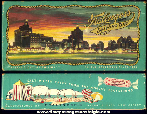 Colorful Old Fralingers Atlantic City Salt Water Taffy Candy Advertising Box
