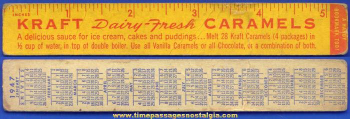 1947 Kraft Candy Caramels Advertising Premium Calendar Ruler