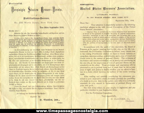 1884 United States Brewers Association Political Prohibition & Intolerance Document
