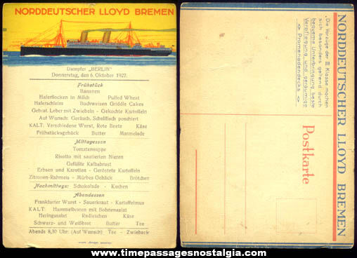 Unused 1927 North German Lloyd Bremen Steamship Berlin Menu Post Card