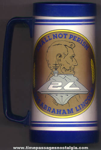 Large U.S.S. Abraham Lincoln CVN-72 United States Navy Ship Plastic Drink Mug
