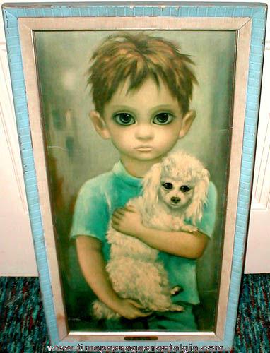 Old Framed Margaret Keane No Dogs Allowed Big Eye Boy & Dog Art Print