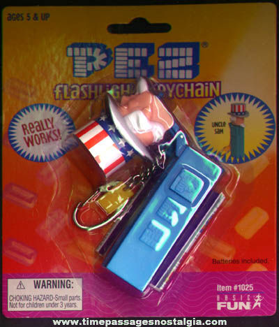 Unopened Uncle Sam Character PEZ Advertising Candy Dispenser Flashlight Keychain