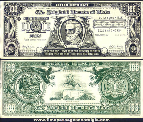 ©1954 Novelty One Hundred Dixie Bucks Dollar Bill