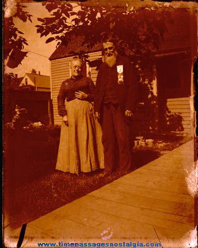 Large Man & Woman Glass Photograph Negative