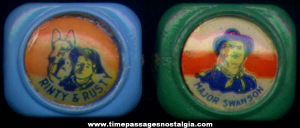 (2) Different Rin Tin Tin Character Cereal Premium Toy Rings