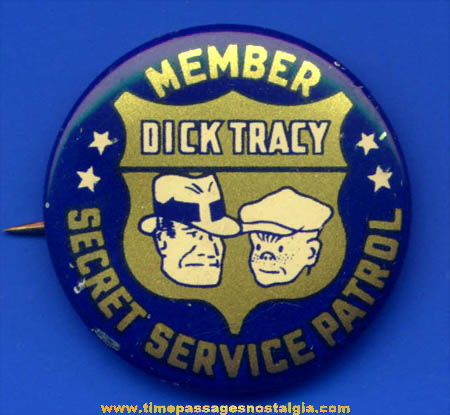 1938 Dick Tracy Secret Service Patrol Lithographed Tin Premium Pin Back Button
