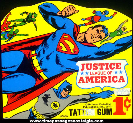 Unused 1970 Superman Batman Flash & Other Superheroes Gum Ball Machine Header Card