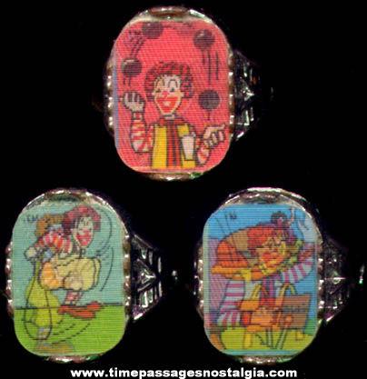 (3) Old McDonalds Restaurant Ronald McDonald Flicker Toy Rings