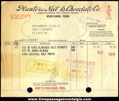 (3) 1947 Planters Nut & Chocolate Company Paper Items