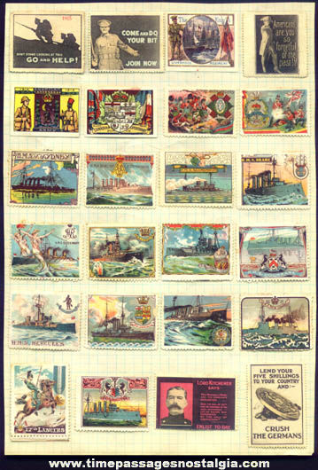 (24) Colorful Old European World War I Stamps