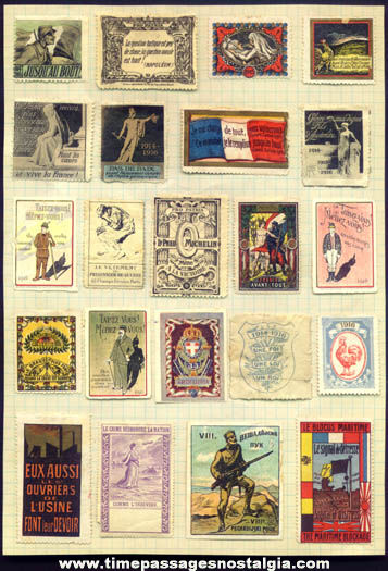 (22) Colorful Old European World War I Stamps
