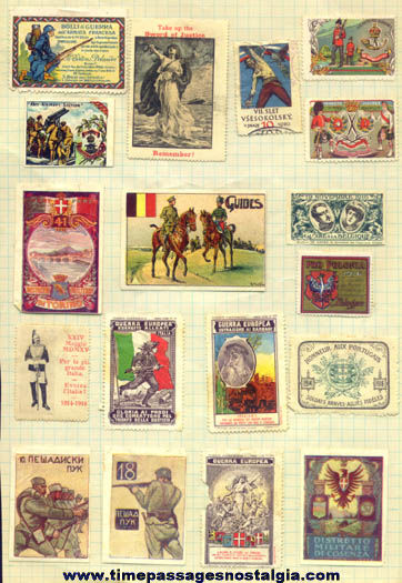 (18) Colorful Old European World War I Stamps