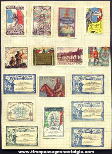 (16) Colorful Old European World War I Stamps