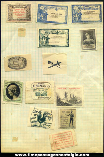 (13) Old European World War I Stamps