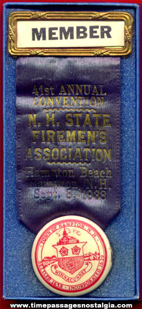1938 Hampton Beach New Hampshire Fireman Association Member Convention Ribbon