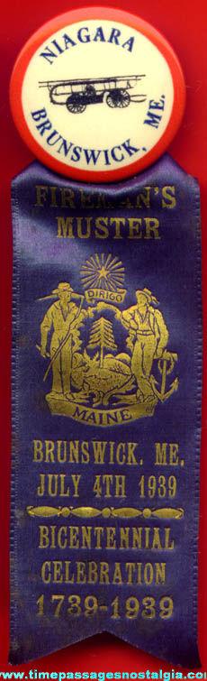 1939 Brunswick Maine Firemans Muster Bicentennial Ribbon Badge