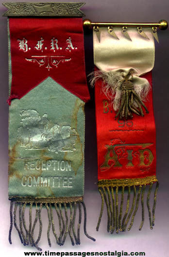 (2) 1800s B.F.R.A. Fireman Convention Ribbons