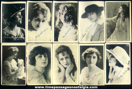 (10) Different Silent Film or Early Movie Star Picture Cards