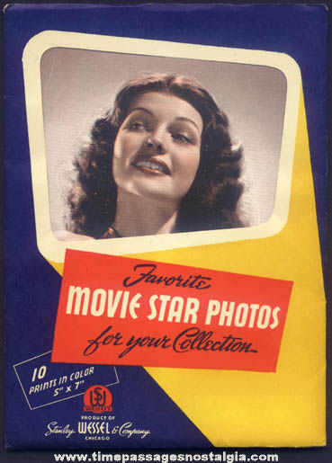 Old Envelope With (10) Television & Movie Star Actress Color Prints