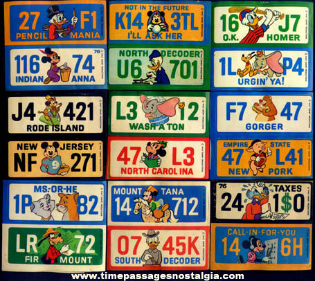 (18) Unused 1976 Walt Disney Character License Plate Premium Stickers