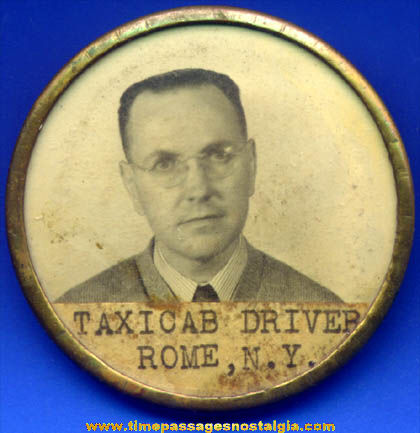 Old Rome New York Taxi Cab Driver Photo ID Employee Badge