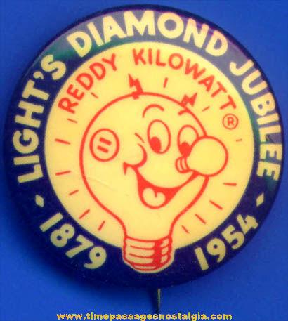 1954 Reddy Kilowatt Diamond Jubilee Advertising Celluloid Pin Back Button