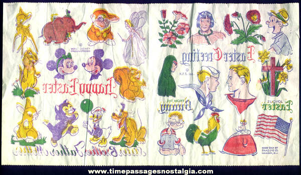 Old Unused King Features & Walt Disney Paas Dye Transfer Sheet