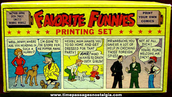 Old Boxed Favorite Funnies Comic Strip Character Printing Set