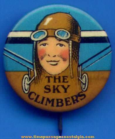 Colorful 1929 Sky Climbers of America Celluloid Club Pin Back Button