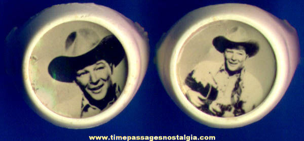 (2) Different 1950s Roy Rogers Real Photograph Toy Rings