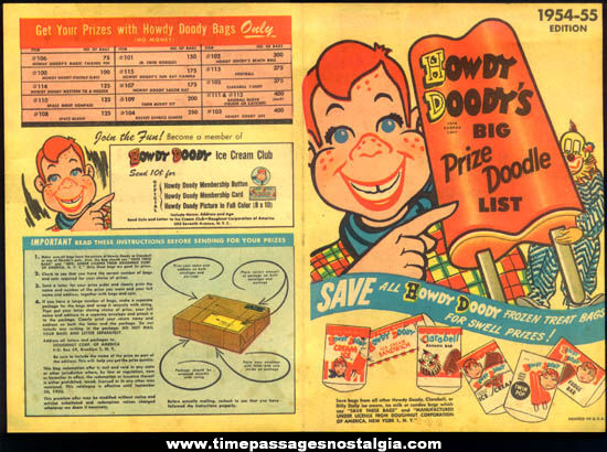 1954 - 1955 Howdy Doody Ice Cream Club Toy Premium Prize List