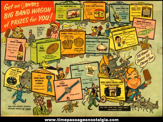 1954 - 1955 Howdy Doody Ice Cream Club Toy Premium Prize List