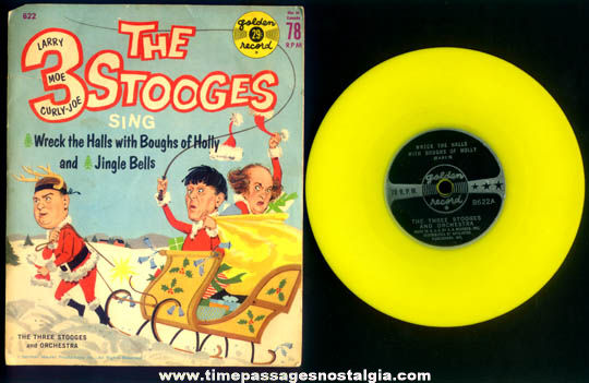 ©1960 Three Stooges Christmas Record With Picture Sleeve