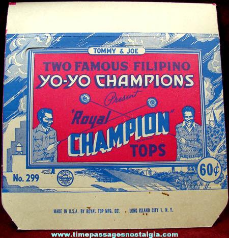 Old Unused Royal Tops Champion Yo Yo Store Display Advertising Box
