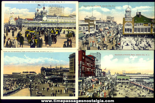 (4) Old Unused Atlantic City New Jersey Boardwalk Post Cards