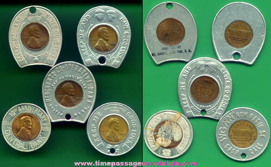 (5) Old Souvenir Advertising Premium Encased Cent Tokens