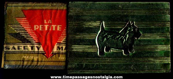 Small Old Metal Scottie Dog Match Box Holder