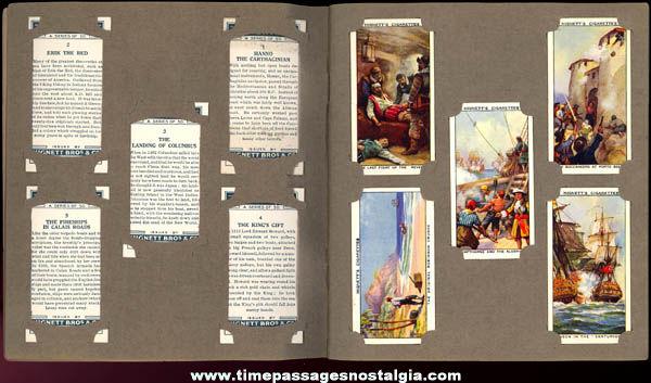 Set Of (50) Old Cigarette Cards In Old Cigarette Card Album