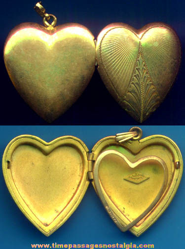 Old Engraved Heart Shaped Jewelry Photograph Locket Pendant