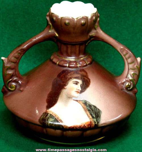 Old Austrian Vase or Bottle With Colorful Pretty Lady Image
