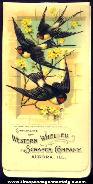 Colorful ©1899 Western Wheeled Scraper Company Celluloid Advertising Premium Notebook