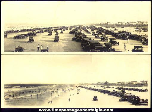 (2) 1920s Daytona Beach Florida Panoramic Photographs With Automobiles
