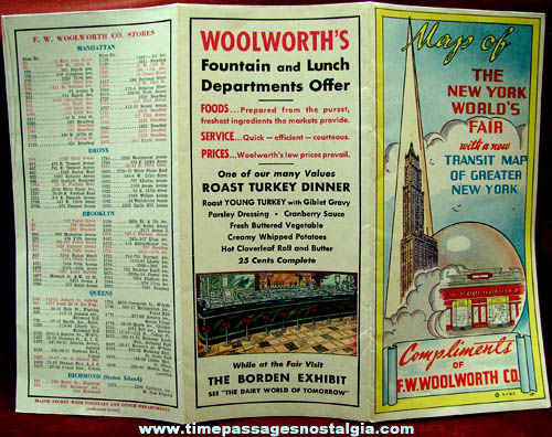 1939 - 1940 New York World's Fair Woolworth's Advertising Premium Map