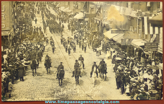 Fourth of July Parade 1908 Gardiner Maine Real Photo Post Card